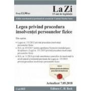 Legea privind procedura insolventei persoanelor fizice Act. 7.05.2018