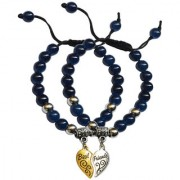 Men Style Onyx 5mm Beaded Couple Broken Heart Best Friend Adjustable Wristband For Unisex Blue Gold and Silver Crystal Alloy Bracelet For Men and Women