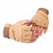 Ctsmart Outdoor Tractical Half-Finger Bike Riding Sun-resistant Gloves - Khaki (XL)