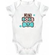 Body bebe LWS bumbac organic brodat alb model micul sef cu papion 92 cm