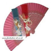 Decorated Wedding Fans - Assorted Bright Colours (Carved Rustic)