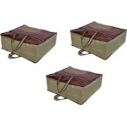 PRAHAN INTERNATIONAL Non Woven Blanket Cover Bag With Handle Pack Of 3 PI-C3B003(Beige)