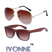 Ivonne Brown Aviator Sunglass With Free Brown Wayfarer Sunglass (UV Protected)