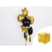 Kocka alakú arany fólia lufi, 35cm