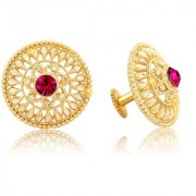 Vighnaharta Traditional 1gm Gold South Screw Back Alloy Gold and Micron Plated Stud Earring- VFJ01118ERG