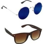 ABD Kingdom Round, Wayfarer Sunglasses(Blue, Brown)