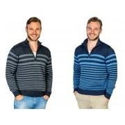 Pullover, Farbe blau mit Blockstreifen, Gr.2XL