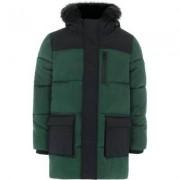 River Island Boys Green block hooded puffer coat