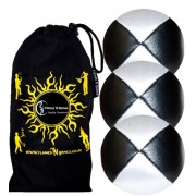 Flames N Games Juggling Balls 3X Pro - Deluxe (Leather) Professional Set of 3 +Fabric Travel Bag. (Black/White)