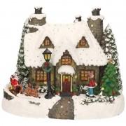 Lumineo Kerstdorp maken kersthuisjes Kerstman 19 cm met LED lampjes - Kerstdorpen
