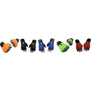 CP Bigbasket Pack of Five (5) Netted with Wrist Support Gym Fitness Gloves (Free Size) Orange-black-blue-green-red