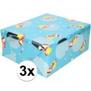Shoppartners 3x Inpakpapier/cadeaupapier blauw vos met masker 200 x 70 cm rol