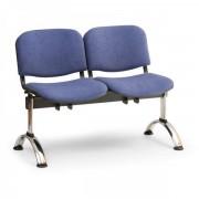 Kovo Praktik RAUMAN Čalouněné lavice VIVA, 2-sedák, chromované nohy modrá