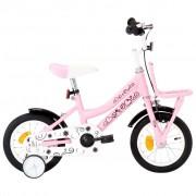"vidaXL Bicicleta criança c/ plataforma frontal roda 12"" branco/rosa"