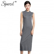Sparsil Women Autumn Knitted Wool Sleeveless Dresses Solid O-Neck Tank Spring Sweater Dress Female Mid-Calf Long Vestido