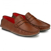 BUCIK Men's BROWN Synthetics Leather Slip On Casual Loafers