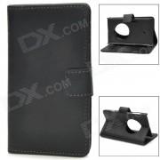 funda protectora de cuero con tapa abierta para nokia lumia 1020 - negro