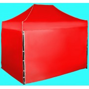 Nůžkový stan 3x2m ocelový, Červená, 4 boční plachty