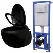 vidaXL Toaletă cu rezervor încastrat, aspect ou, ceramică, negru