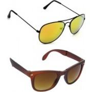 Hrinkar Aviator Sunglasses(Golden, Brown)