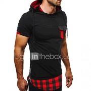 Heren Eenvoudig Actief Zomer T-shirt,Uitgaan Nette schoenen Kleurenblok Overhemdkraag Korte mouw Katoen Medium