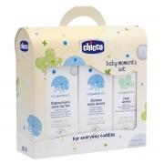 Chicco baby moments trial set confezione bagnoschiuma 200ml - shampoo 200ml- pasta lenitiva 100ml