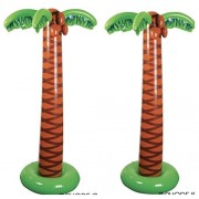 """Set of 2 JUMBO Inflatable PALM TREES - LUAU Party DECOR (66"""" Tall) TROPICAL Decorations - ISLAND Theme PARTIES"""