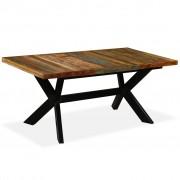 vidaXL Mesa de jantar madeira reciclada maciça + aço em cruz 180 cm