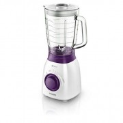 Blender de masa Philips Daily Collection HR2173/00, 600 W, 1.5 l, Variospeed, Alb/Mov