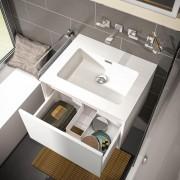 Treos Serie 905 Waschtisch mit Waschtischunterschrank mit 1 Auszug 59.7 x 48.4 x 40.7 cm (B x T x H) eiche (Melamin) ohne Hahnloch
