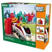 Brio Smart Engine Set with Action Tunnels Wooden Train (17 Piece), Multi