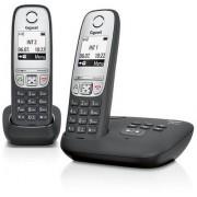 Siemens Gigaset A415A Duo - 2 draadloze telefoons met antwoordapparaat - eenvoudige DECT-telefoon met handsfree-functie, grafisch display en eenvoudige bediening - zwart