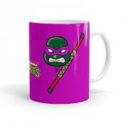 Caneca Porcelana Tartarugas Ninja Donatello 01 Branca