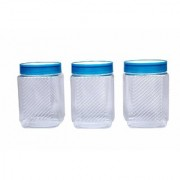 Nucleya Retail 3 Piece Plastic Container Set Plastic Container Set for Kitchen Use 500 ml (Blue)