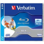 BD-R BluRay lemez, nyomtatható, 25GB, 6x, normál tok, VERBATIM (BRV-6N)