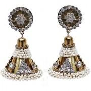Lucky Jewellery Golden Designer White Stone Partywear Jhumki Earring