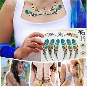 15 Sheet Metallic Temporary Tattoos - 300+ Shimmer Design Tattoo Gold ,Sliver and Black - Flowers, Elephants,Cross, Skull and Bracelets For Girls Kids Adult