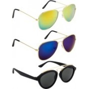 NuVew Aviator, Oval Sunglasses(Grey, Blue, Golden)