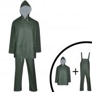 vidaXL Costum de ploaie impermeabil cu glugă, mărime L, verde, 2 piese