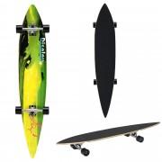 [pro.tec]® Monopatín Longboard para el cruising en la ciudad y el parque - 116x22x12cm - Skateboard (amarillo, verde con ola)