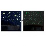 Satya PVC Night Glowing Radium Magic Galaxy Stars Stickers + Falling Star Sticker for Room Ceiling