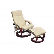 vidaXL Масажен стол с табуретка, кремав, изкуствена кожа