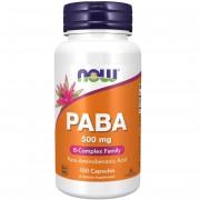 Now Foods PABA (Kwas p-aminobenzoesowy) 500 mg 100 kapsułek