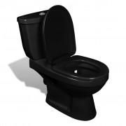vidaXL Тоалетна с казанче, черна