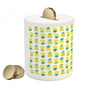 Green and Yellow Coin Box Bank by Ambesonne, Fresh Hawaii Foliage with Blooming Leaves on Fruits, Printed Ceramic Coin Bank Money Box for Cash Saving, Sea Green Apple Green Yellow