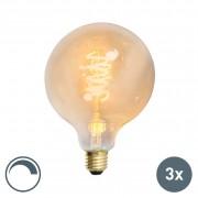 Calex Zestaw 3 x żarówka LED E27 ściemnialna skręcony żarnik filament G125 złota