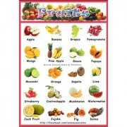 A3 size children Learning colour Posters - Fruits 1+1(with without Lamination)
