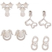 Mahi Rhodium Plated combo of Elegant Danglers and Stud Earrings with Crystal stones CO1104732R