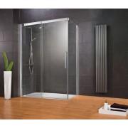 Schulte Home Porte de douche coulissante + paroi latérale Manhattan, 120 x 90 cm, anticalcaire, ouverture vers la gauche