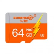 Cigooxm Memoria de Alta Velocidad Tarjeta TF Tarjetas de Almacenamiento de la cámara HD Naranja y 64 GB